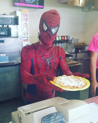 Get your delicious funnel cakes! superherosaturday spiderman superhero marvel funnelcakehellip